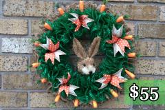 "Rabbit Head 17"" Deco Mesh and Burlap Wreath $55"