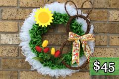 Rabbit, Tulips and Sun Deco Mesh and Green Burlap Wreath $45.