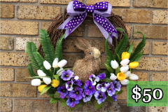 Shaved Wood Rabbit with Tulips Grapevine Wreath $50