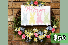 """""""Welcome"""" Bunny Sign 17"""" Grapevine Wreath $50"""