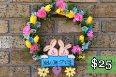 """Welcome Spring 12"""" Willow Wreath $25"""