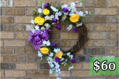 """White Apple Blossom and Purple Tulip 17"""" Grapevine Wreath $60"""