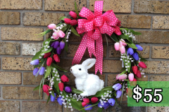 "White Fuzzy Rabbit 17"" Grapevine Wreath $55"