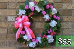 "White Geranium 17"" Grapevine Wreath $55"