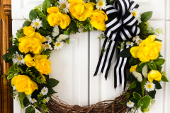 """20"""" Grapevine with Large Yellow Roses, Daisies, Sprigs of Fern and Butterflies."""