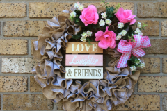 "Lace Stencil Burlap 17"" with Wooden Sign ""Love Laughter & Friends"", Pink Roses and White Mini Flowers."