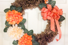 """17"""" Burlap with Orange and White Mums and Small Bird Accent."""