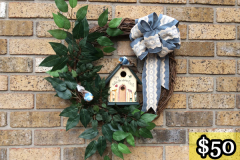 "20"" Grapevine with Hand-Painted Birdhouse, Tree Branches and Birds. $50."