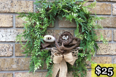 """12"""" Grapevine with Willows, Owl Nest + Stone Babies on Driftwood and Stone Momma. $25."""